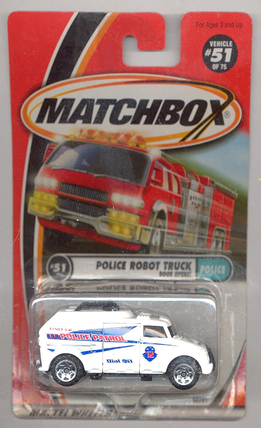 1999-51 75 Police WHITE Police Robot Truck 1:64 Scale, 1:64 Scale By Matchbox by