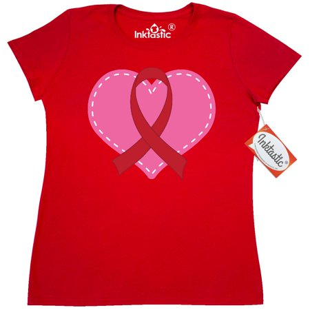 Inktastic Red Awareness Ribbon Heart Womens T Shirt Health Stroke Survivor Attack Support Disease Hypertension Aids Ribobn Substance Abuse Clothing Apparel Tees Adult Hws