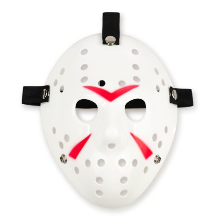 Hockey Mask Killer Halloween (Jason Hockey Mask | White Friday The 13th Mask | Sized for Adults &)