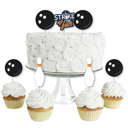 Strike Up the Fun - Bowling - Dessert Cupcake Toppers - Birthday Party or Baby Shower Clear Treat Picks - Set of 24 (Bowling Cupcakes)
