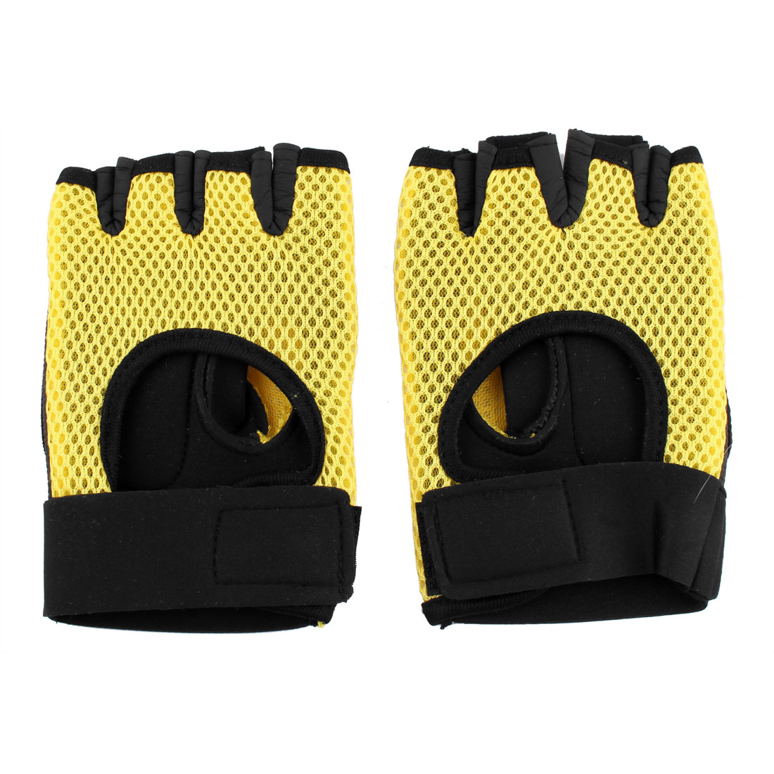 Unique BargainsSkating Weightlifting Cycling Fitness Half Finger Fingerless Gloves Yellow Pair