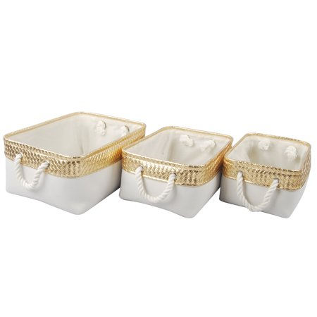 A&B Home Alcott Canvas Nested Baskets, Gold & White, Set of 3 ()