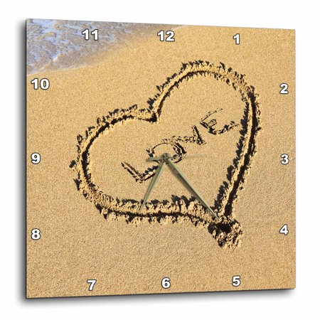 3dRose Heart with Love Drawn in the Sand on the Beach, Wall Clock, 15 by 15-inch - Heart In The Sand