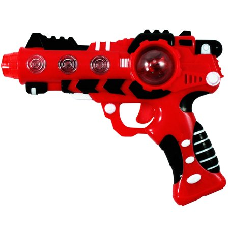 Intergalactic Superhero Laser Space Blaster with Spinning LED Lights Sound - Red