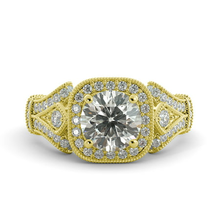 3.19 ct Cushion Brilliant Moissanite & Diamond Vintage Engagement Ring 14k Yellow Goldold