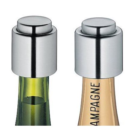 Cilio Stainless Steel Wine & Champagne Bottle Cap / Stopper / Sealer - 2pc (Stainless Steel Wine Bottle Stopper)