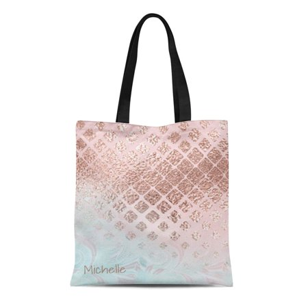 ASHLEIGH Canvas Tote Bag Pink Glam Diamonds Rose Gold and Powder Blue Id400 Reusable Handbag Shoulder Grocery Shopping Bags