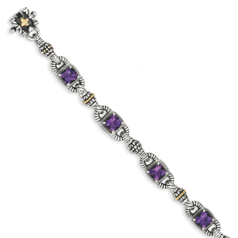 Sterling Silver w 14k Amethyst Antiqued Bracelet by Kevin Jewelers