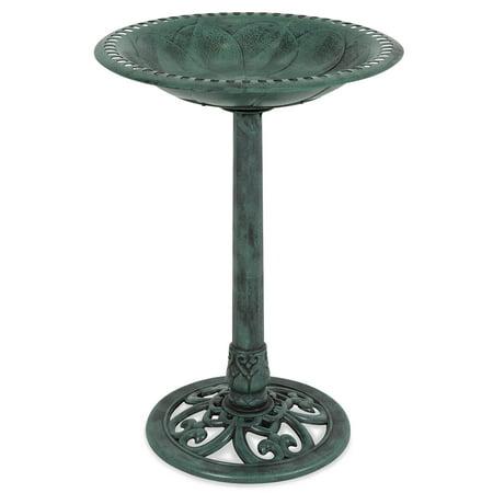 Best Choice Products Outdoor Vintage Resin Pedestal Bird Bath Accent Decoration for Garden, Yard w/ Fleur-de-Lys Accents - Green