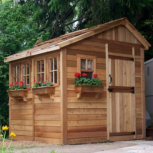 Outdoor Living Today Sunshed 8 ft. x 8 ft. Wooden Storage Shed by