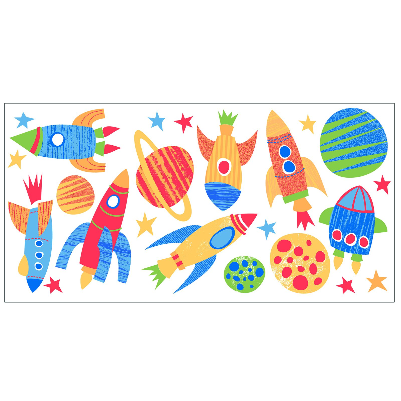 Fun4Walls Blast Off Wall Stickers - Set of 46
