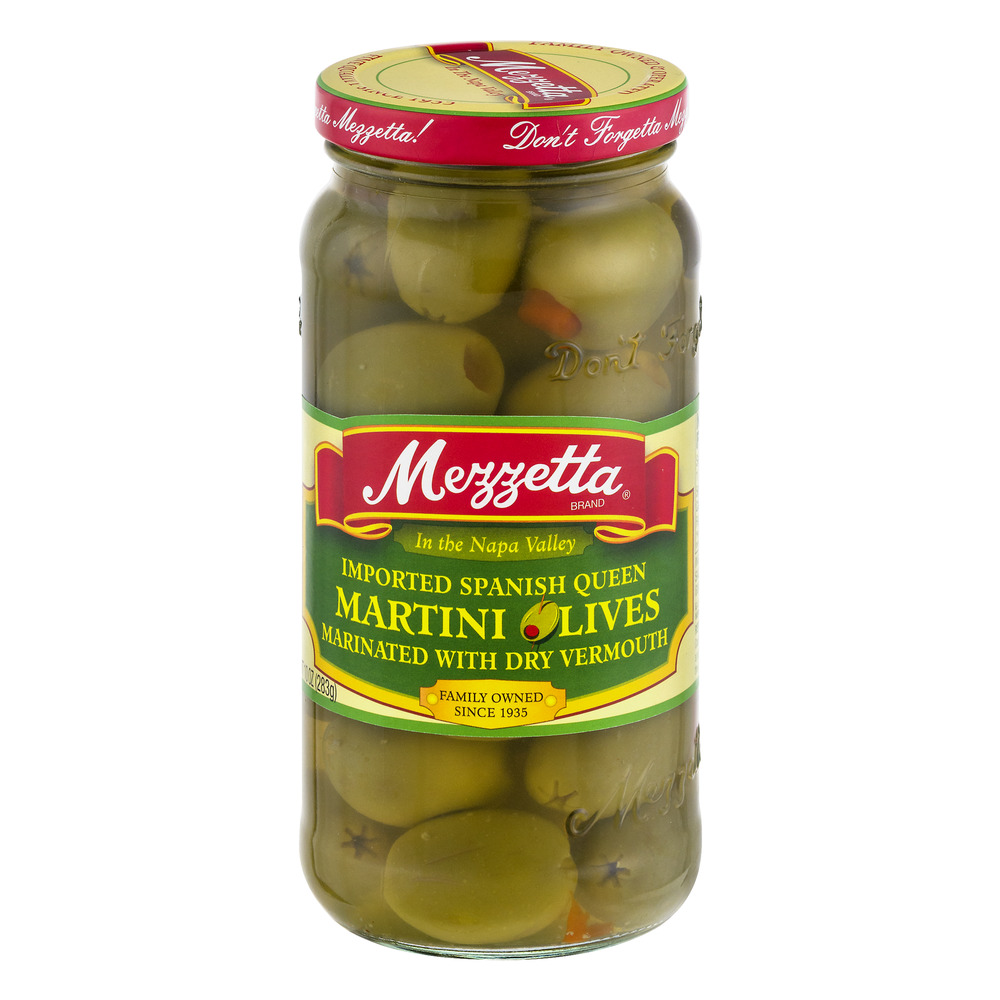 Mezzetta Martini Olives Imported Spanish Queen Marinated With Dry Vermouth, 10.0 OZ by G L Mezzetta Inc.