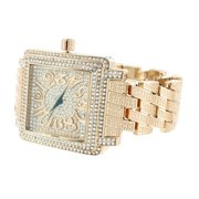 Square Face Mens Watch Rose Gold Tone Metal Design Band Lab Diamonds Steel back