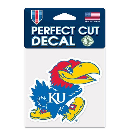 Kansas Jayhawks Official NCAA 4 inch x 4 inch  Die Cut Car Decal by Wincraft
