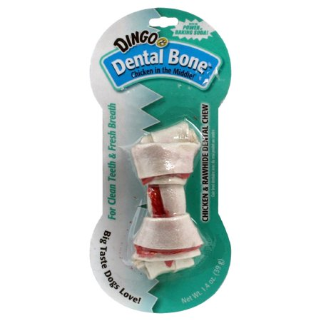 Dingo Dental Bone Small Chicken & Rawhide Chew Dog Treats, 4