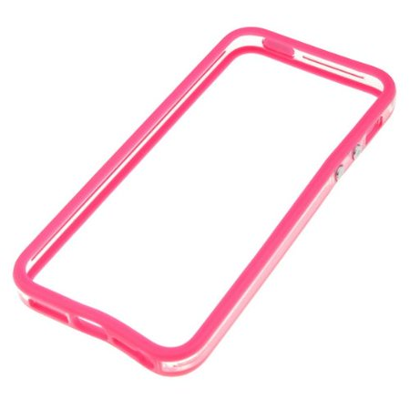 TPU Case with Aluminum Button with Apple Iphone 5 Clear Pink, Clear Pink Bumper Frame Case Cover w/Metal Button For New iPhone 5 5G By Bumper Ship from US