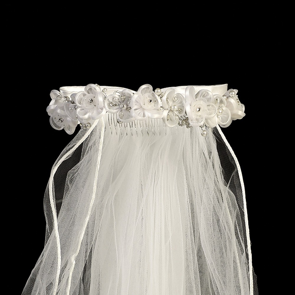 "Girls White Organza Flowers Rhinestone Pearl Special Occasion 24"" Veil"