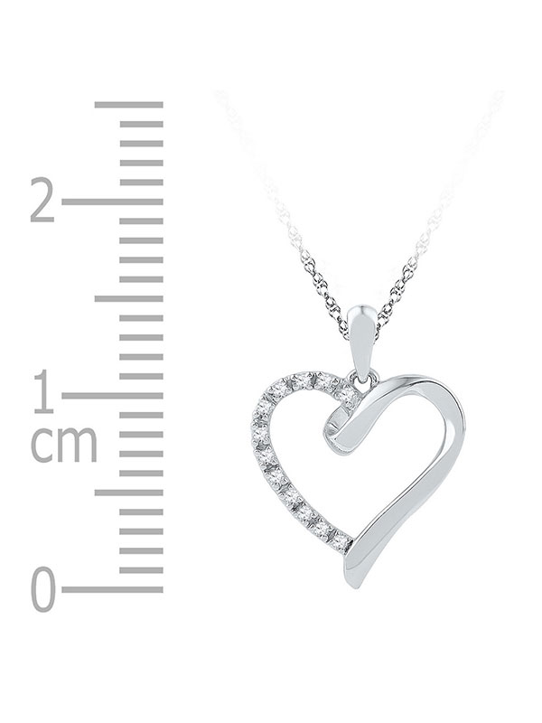 Sterling Silver Womens Round Diamond Simple Heart Outline Pendant 1//20 Cttw