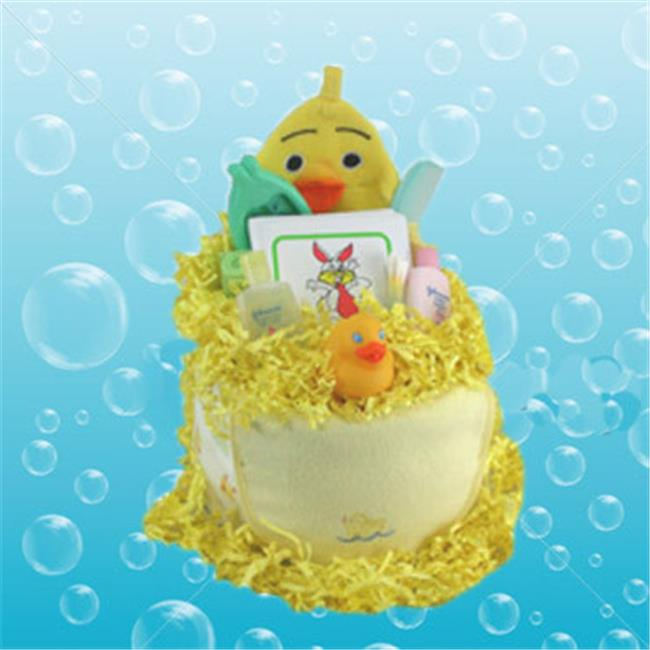 2 Tier Bathtime Duck Neutral Nappy Cake Baby Gift