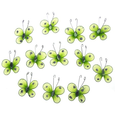 Organza Nylon Glitter Butterflies, 1-inch, 12-Piece, Apple Green