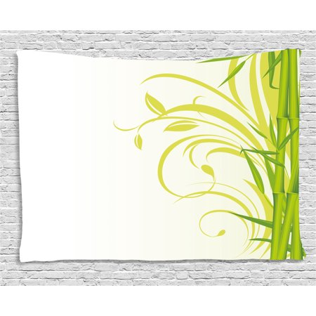 Green Tapestry, Bamboo with Artistic Floral Curly Leaves Asian Feng Shui Zen Garden, Wall Hanging for Bedroom Living Room Dorm Decor, 80W X 60L Inches, Lime Green Pale Green White, by Ambesonne