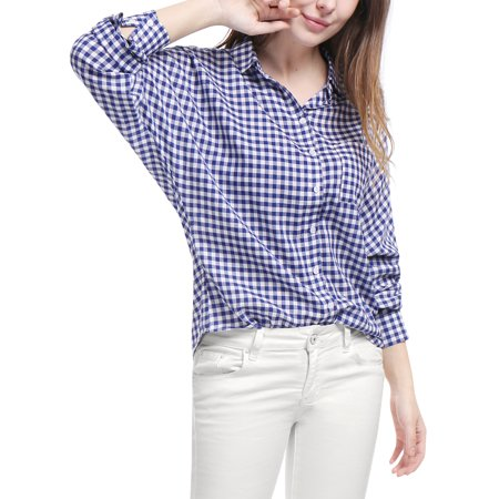 Cotton Gingham Shirt (Women Single Breasted Batwing Sleeves Gingham Shirt )