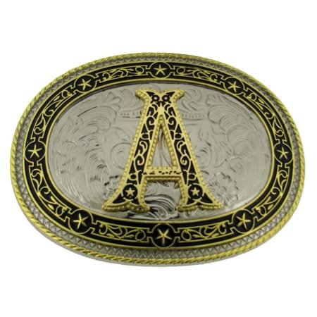 Initial A Letter Monogram Belt Buckle Cowboy Rodeo Western Metal Vintage Fashion
