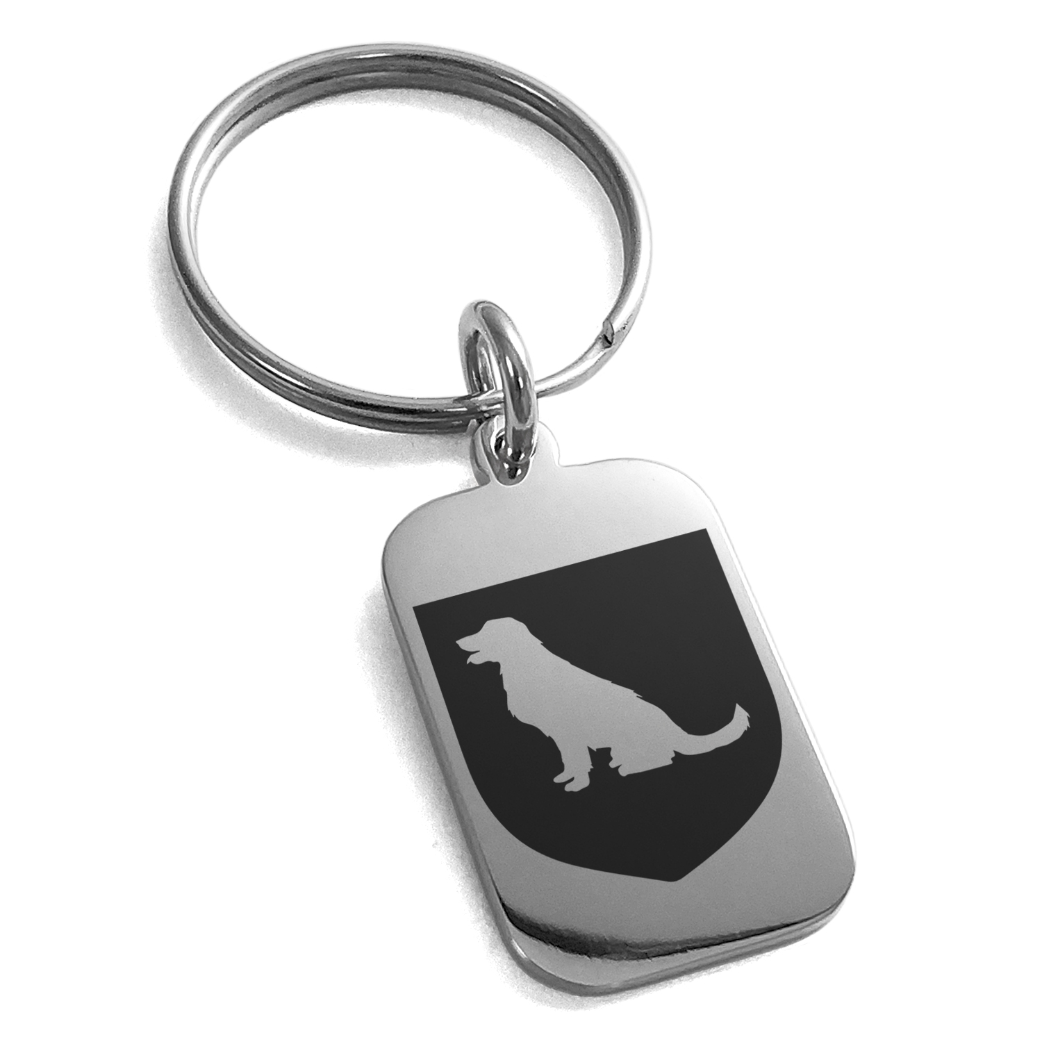 Stainless Steel Dog Loyalty Coat of Arms Shield Engraved Small Rectangle Dog Tag Charm Keychain Keyring
