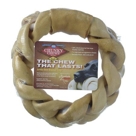 Rawhide Braided Ring (PetAg Rawhide Chunky Chews Beef Braided Ring, 8