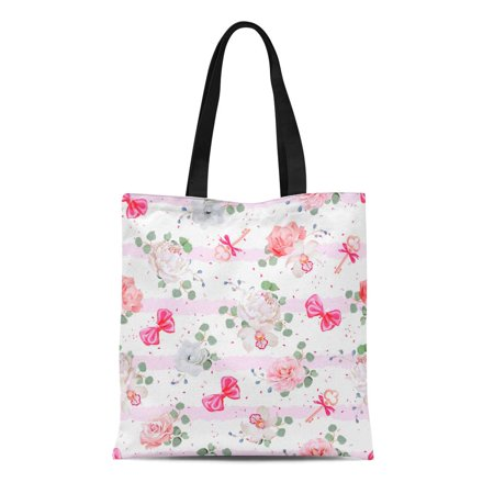 - ASHLEIGH Canvas Bag Resuable Tote Grocery Shopping Bags Striped Pink with Red Satin Bows Speckles and Flowers Rose Peony Camellia Tote Bag
