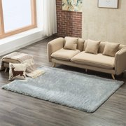 Mecor Collection Area Rug Cozy Solid Flokati Shaggy Carpet Multicolor for Living Room/Bedroom Floor(3'x5'),Gray