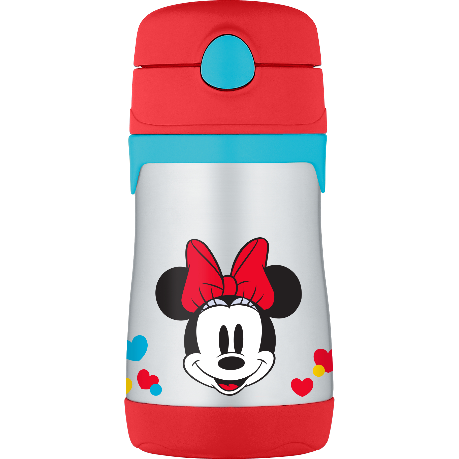 THERMOS Vacuum Insulated Stainless Steel 10-Ounce Straw Bottle, Minnie's Bow-Tique