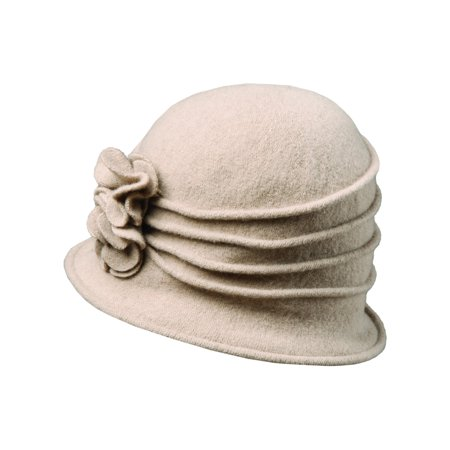 210bb3fe1ef SCALA CLASSICO - scala women s boiled wool cloche hat with flower ...