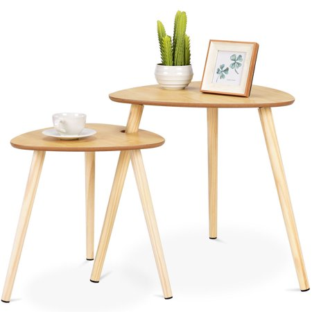 Gymax 2 Pcs Nesting Coffee Tables End Accent Sofa Side Table Wooden Leg Living Room