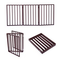 """Jaxpety 24"""" Dog Gate Indoor Safety 3 Panel Versatile Cat Dog Pet Fence Home Brown, Natural Finished"""