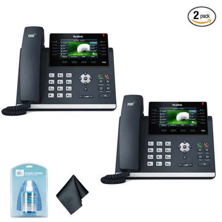 Yealink SIP-T46S IP Office Desk Phone Dual-Port Gigabit Ethernet | 802.3af PoE | Power Adapter Not Included - (2 Count) (480i Ct Ip Phone)