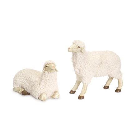 Set of 4 Brown and Ivory White Sheep Nativity Animal Christmas Figurines 7.5
