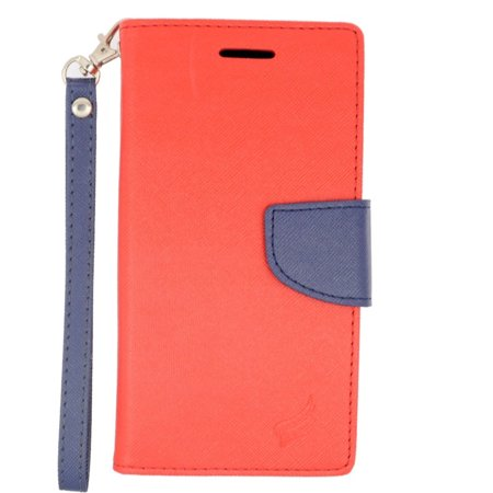 Insten Flip Leather Fabric Cover Stand Credit Card Case Lanyard For Alcatel One Touch Conquest   Red Blue