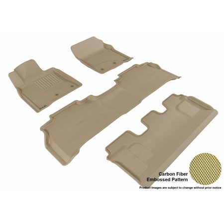 3D MAXpider 2008-2012 Toyota Land Cruiser Front, Second, & Third Row Set All Weather Floor Liners in Tan with Carbon Fiber Look