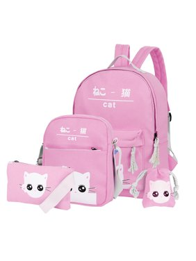 Vbiger Canvas Kids Backpack Set 4pcs Casual Kitty School Bag for Teenage Girls( Pink)