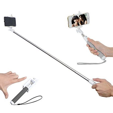 one monopod foldable bluetooth selfie stick for iphone 6 6 5 samsung black. Black Bedroom Furniture Sets. Home Design Ideas