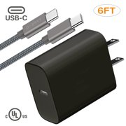 Type-C Adaptive Fast Charger Set For New Samsung Galaxy Note 10, 10+, 6ft Type-C to Type-C Cable + Adaptive Wall Charger 18w, Samsung A6S and Other Smartphones, Devices