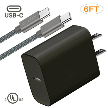 USB-C Charger Set, 18W Adaptive Charger For Samsung Galaxy Note 10, 10+, 1x Wall Charger + 1x 6ft USB-C Cable, UL Certified, Fast Delivery Charger, Black Delivery Note Set