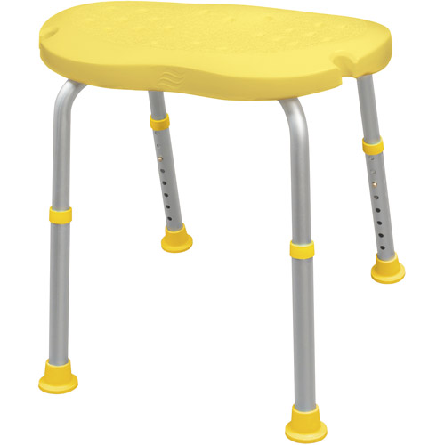 AquaSense Adjustable Bath and Shower Chair with Non-Slip Comfort Seat, Sunlight Yellow