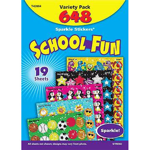 "Trend Enterprises Sparkle Stickers School Fun Themed Jumbo Pack, 1.25"", Pack of 648"