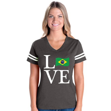 Love Brazil Womens V-Neck Fine Jersey Tee (Love Brazil)