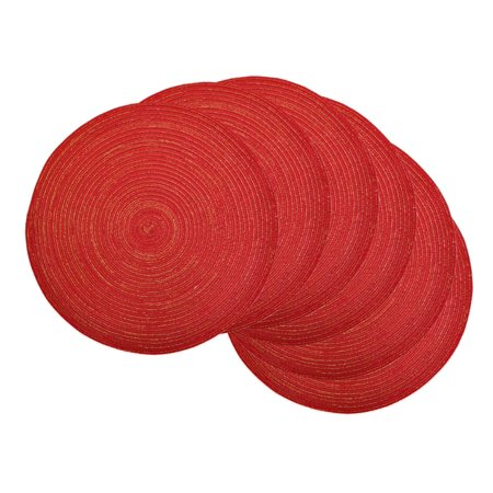 Red Round Placemats (Set of 6 Variegated Red and Golden Colored Round Braided Table Placemats)