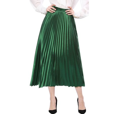 Women's High Waist Party Accordion Pleats Metallic Midi Skirt Dress Green M (US -