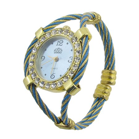 Rhinestone Circle Decor Arabic Number Round Dial Wrist Watch for Woman