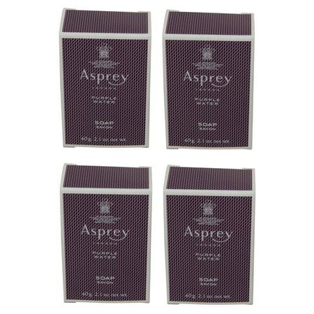Asprey Purple Water Soap lot of 4 each 2.1oz bars. Total of 8.4oz
